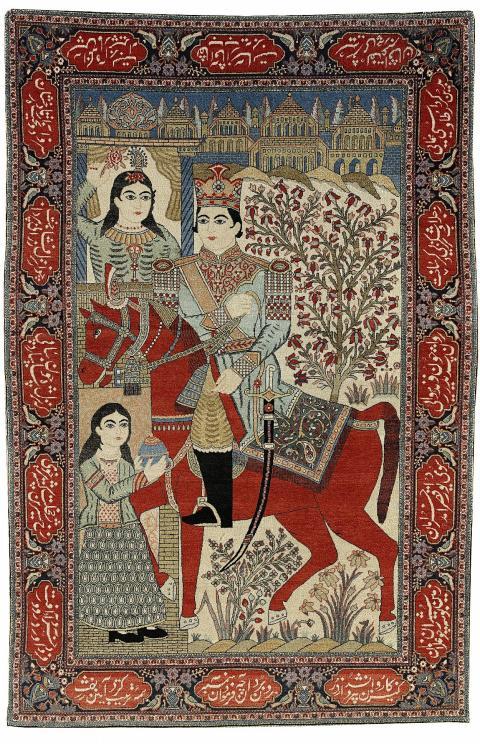 2334. Kashan Mohtasham, antik, figural Khosrow & Shirin Utrop: 25 000-30 000 SEK