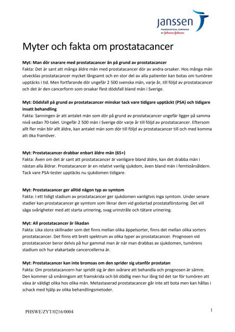 Myter och fakta om prostatacancer