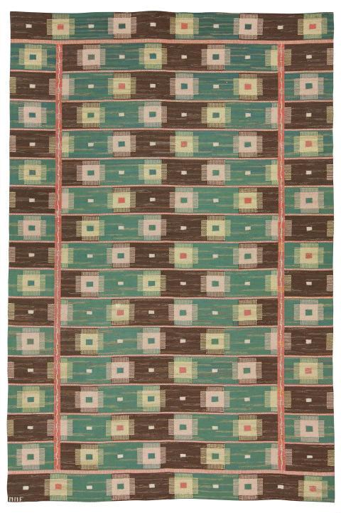 """MÄRTA MÅÅS-FJETTERSTRÖM, matta, rölakan, 351,5 x 235,5 cm, """"Kardborren"""" (mycket ovanlig), signerad MMF."""