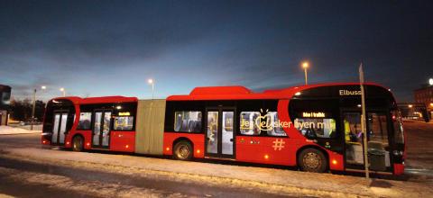 Norges første elektriske leddbuss kjørte på linje 31 i dag