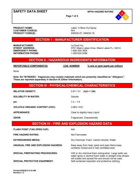 label.m MSDS Blow Out Spray