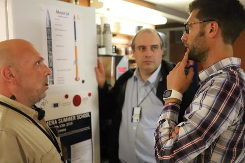 Left to right: Carlo Iorio (ULB), Andrea Ferrari (Cambridge) and Daniele Mangini (ESA) discuss the experiment. Credit: Graphene Flagship.