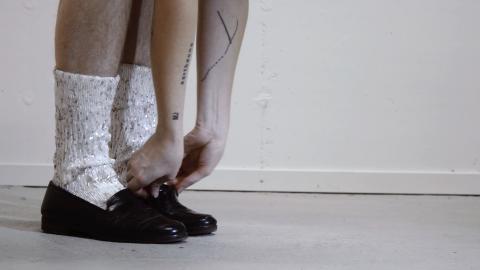 """""""MJ-shoes and socks"""".  Sandra Lundberg, 2017. Ingår i filmen ur filmen"""" Perfection, a desease of a nation"""" (filmad av Mattias Wedin)."""