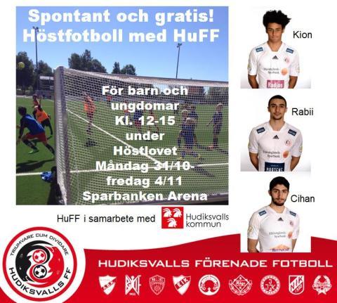 Höstfotboll med HuFF - gratis spontanfotboll på höstlovet, kl. 12-15, Sparbanken Arena