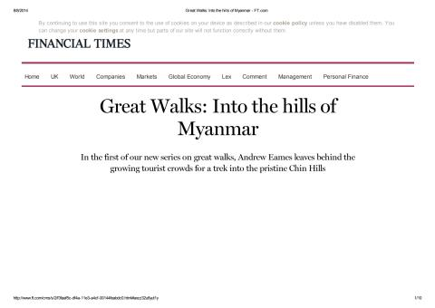 Great Walks into the Myanmar Hills