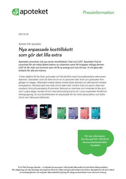 Pressinformation om Apotekets nya kosttillskott