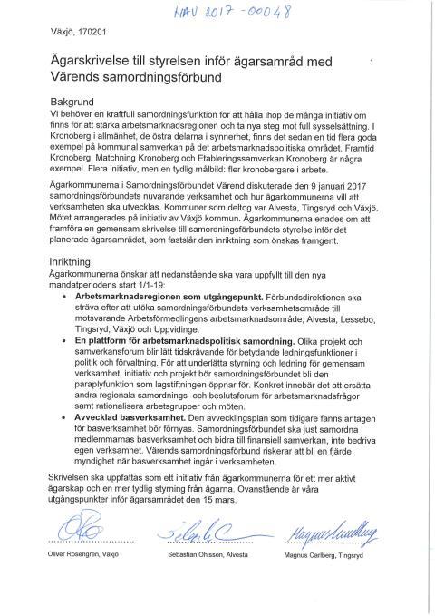 Ägarskrivelse till styrelsen inför ägarsamråd med Värends samordningsförbund