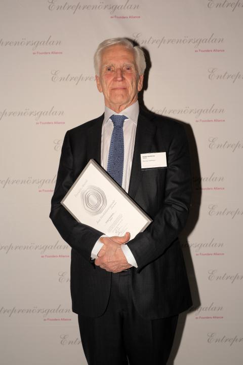 Gunnar Nordström grundare av SWECO tilldelades utmärkelsen Årets Förebildsentreprenör på Entreprenörsgalan Öst