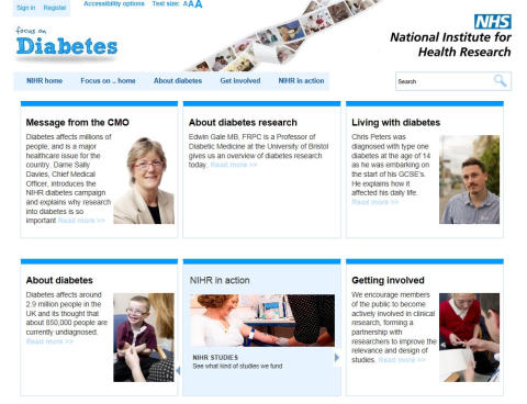 NIHR website showcases how research is helping to tackle diabetes