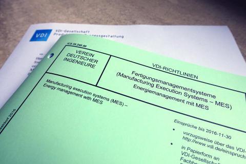 """VDI-Richtlinie 5600 Blatt 6 """"Fertigungsmanagementsysteme (Manufacturing Execution Systems – MES); Energiemanagement mit MES"""""""