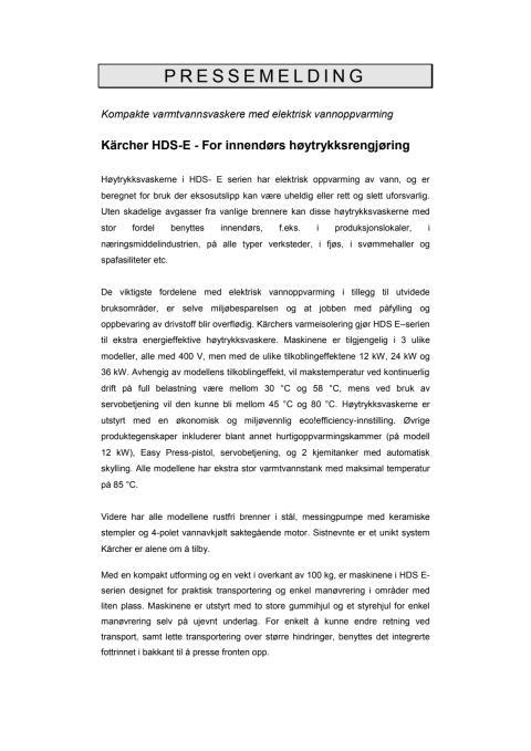 Pressemelding Kärcher - HDS E Høytrykksvaskere PDF-format