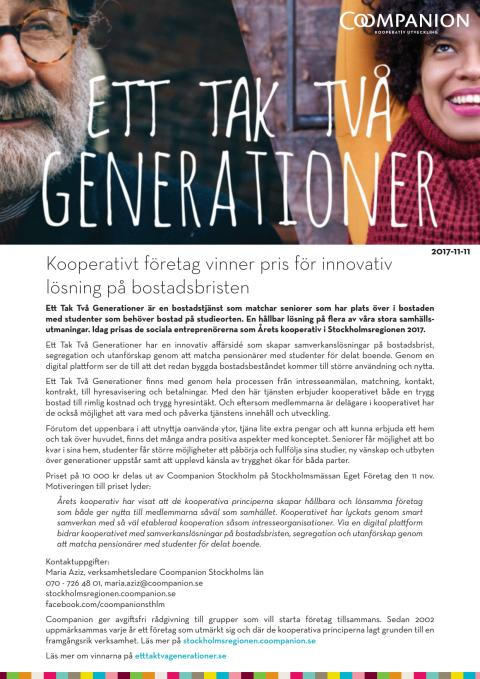 Pressmeddelande Årets kooperativ i Stockholmsregionen 2017