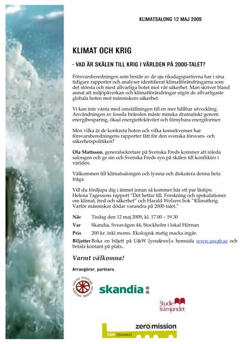 Inbjudan till Klimatsalong 12/5 om klimat och krig