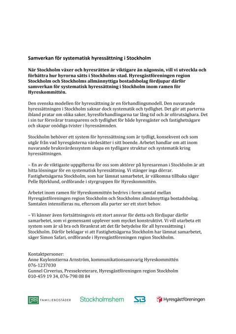 Samverkan för systematisk hyressättning i Stockholm