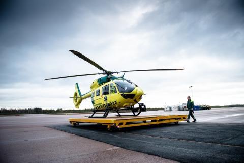 Övning av helikopterhaveri påverkar framkomligheten vid Falu lasarett