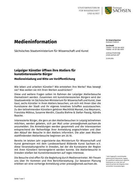 Medieninformation Atelierbesuche Leipzig