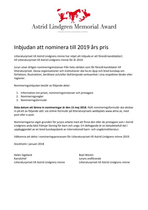 Inbjudan att nominera
