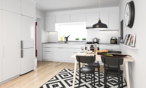 Köksinteriör i lägenhet, BoKlok Landskapet i Skegrie. OBS! Bilden är en illustration och avvikelser kan förekomma i slutprodukt.