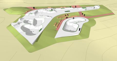 Leksands Skatepark, vy från väster