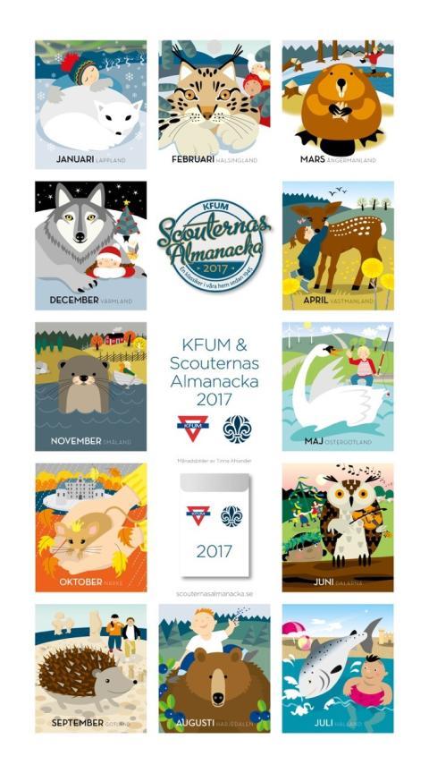 Väggalmanackan som sedan 40-talet engagerar miljontals svenskar och förbättrar barn och ungas fritid – 2017 är landskapsdjuren temat för KFUM och Scouterna!
