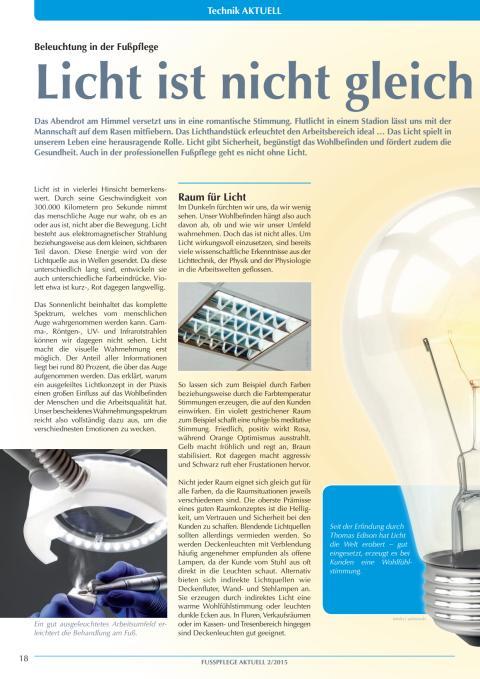 Beleuchtung in der Fußpflege: Licht ist nicht gleich Licht