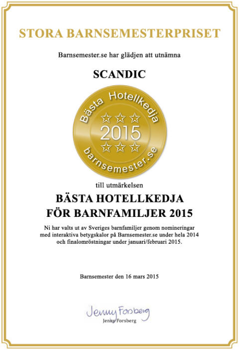 För fjärde året i rad utses Scandic till Sveriges bästa barnhotell 2015