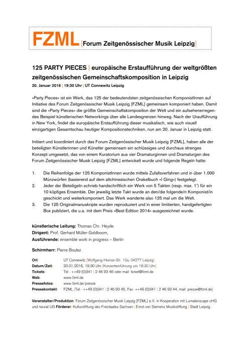 125 Party Pieces Pressemitteilung