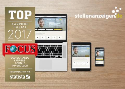 """stellenanzeigen.de von Focus als """"Top-Karriereportal 2017"""" ausgezeichnet"""