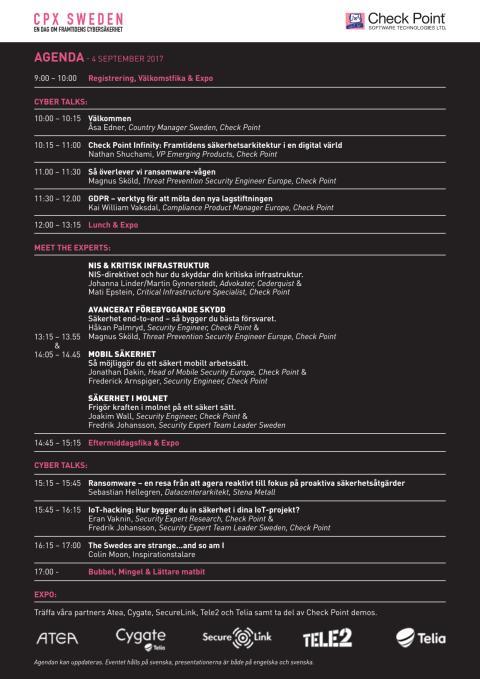 Agenda: CPX Sweden - En dag om framtidens cybersäkerhet - 4 september 2017