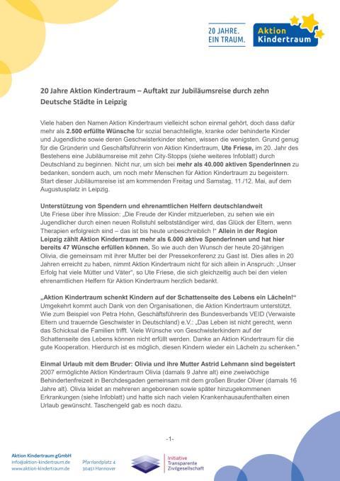 Pressetext - Aktion Kindertraum in Leipzig