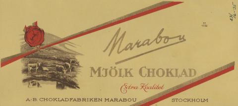 Förpackning till Marabou mjölkchoklad, 1935