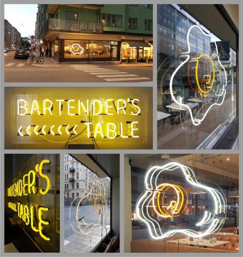 Två neonskyltar, två vitt skilda koncept till Greasy Spoon och Rose Bar