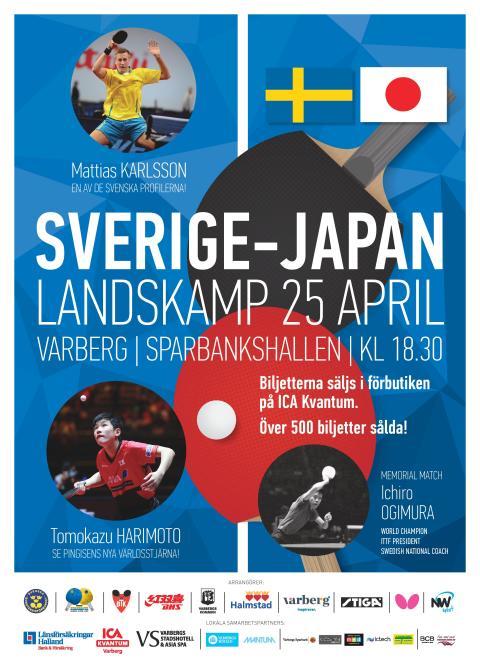 LANDSKAMP BORDTENNIS SVERIGE-JAPAN 25/4
