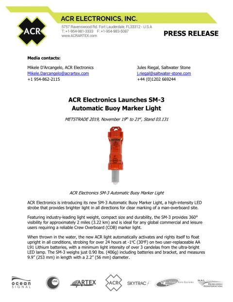 ACR Electronics Launches SM-3 Automatic Buoy Marker Light