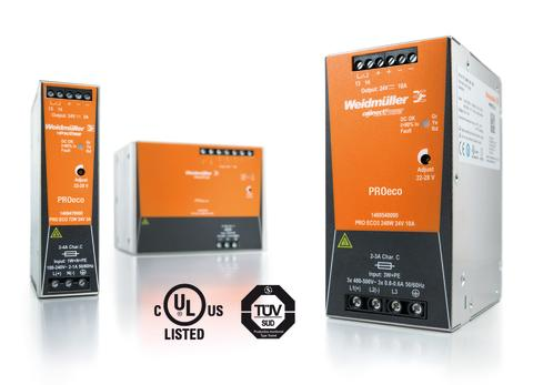 ProEco switchade nätaggregatfrån Weidmüller är certifierad enligt CE och TÜV (EN/IEC 60950-1)