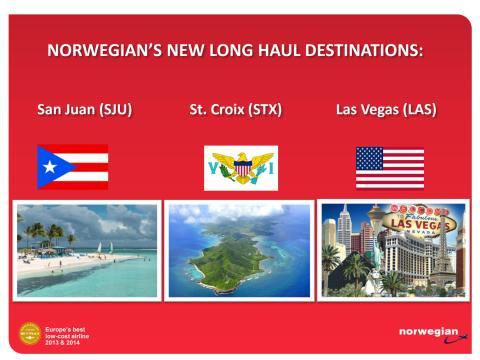 Information about Norwegian's new long haul destinations 2015
