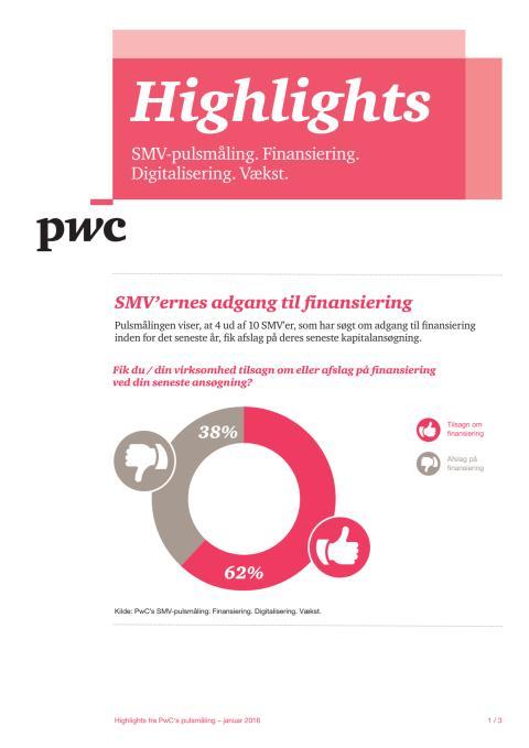 Fakta fra PwC's pulsmåling om finansiering