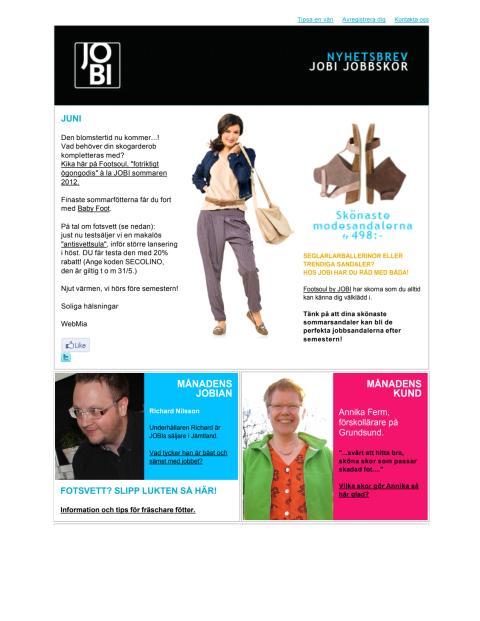JOBI Jobbskor Nyhetsbrev juni 2012