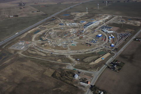 Aerial view over ESS building site
