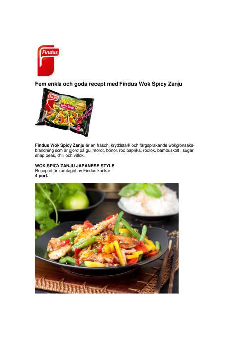 Fem enkla och goda recept med Findus Wok Spicy Zanju