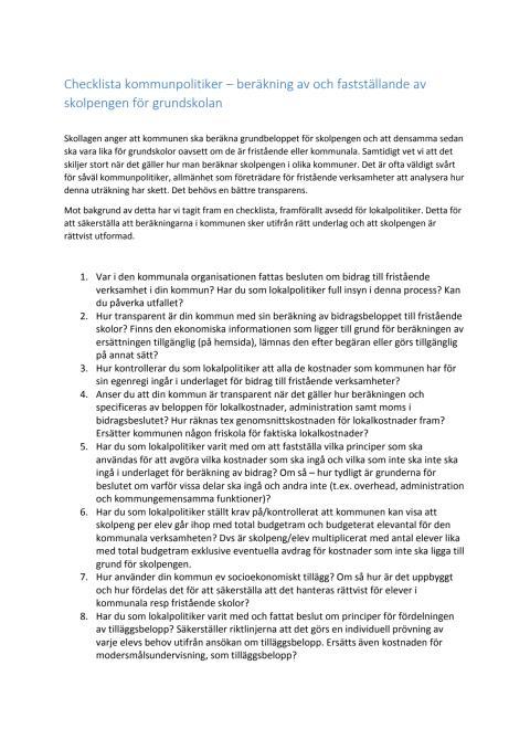 Checklista för kommunpolitiker