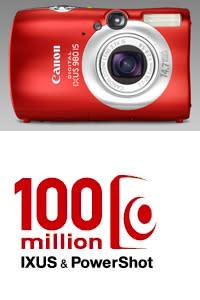 Canon firar 100 miljoner digitala kompaktkameror med en röd Digital IXUS 980 IS i begränsad upplaga