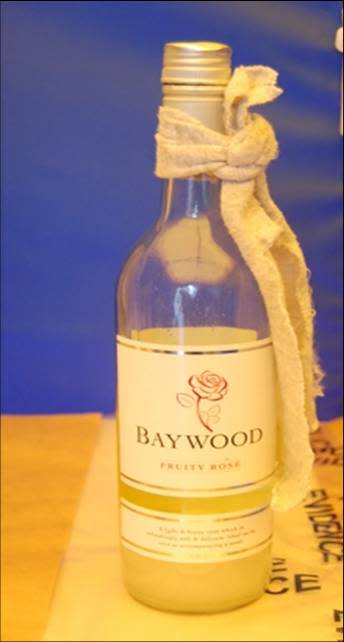 a picture of one of the wine bottles filled with flammable liquid
