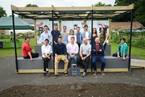 (l-r) Deborah Crombie (head gardener), Deborah Hunter-Knight (project manager), Ben Couture of Jardine Couture, Allard Newell (student) Peter Dixon (northumbria), Paul Ring (northumbria) and Julie Hawthorne of National Trust.