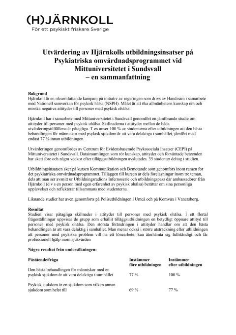 Utvärdering av utbildningsinsatser på omvårdnadsprogrammet vid Mittuniversitetet i Sundsvall