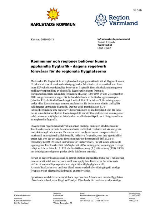 Skrivelse flygtrafikupphandling Karlstad Värmland