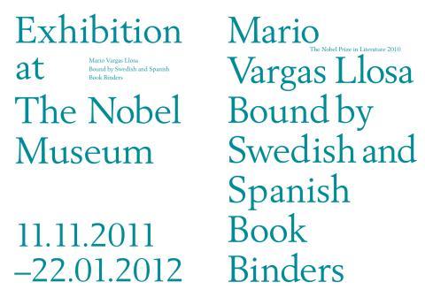 Nobelbandsutställningen 2011 på Nobelmuseet visar bokband av Mario Vargas Llosa