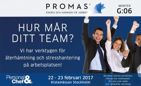 Promas deltar på Personal & Chefsmässan i februari 2017