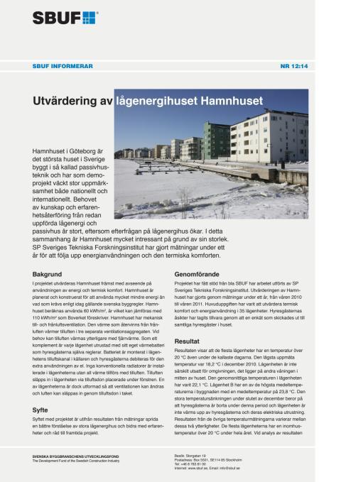 SBUF Informerar, nr. 12-14 Utvärdering av lågenergihuset Hamnhuset