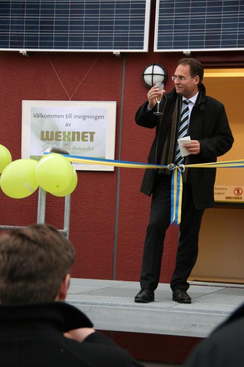 Mikael Ek, VD SSNf, Svenska Stadsnätsföreningen, höll ett uppskattat tal under invigningen av Wexnet Green Data Center och lyfte fram Wexnet som föregångare i branschen